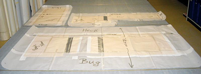 Angefertigte Schablone mit Maßen sowie Angabe von Bug und Heck anfertigung Anfertigung anfertigung schablonen